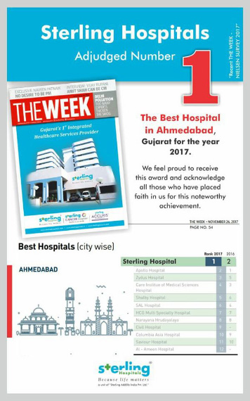Sterling Hospital has been adjudged the best hospital in Ahmedabad  by The Week  Magazine (Nov 2017).
